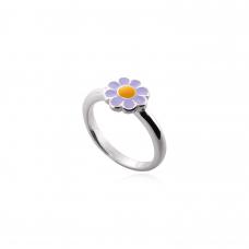 Anel Infantil de Flor Lilás - Prata