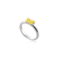 Anel Infantil Borboleta Amarela - Prata Branca