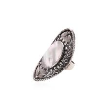 Anel Oval Infinito - Prata Envelhecida