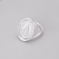 Anel Medalha Nossa Senhora Aparecida - Prata Branca