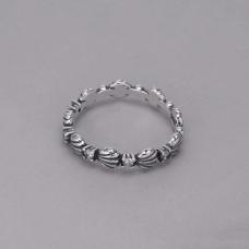 Anel Conchas com Cravejado - Prata Envelhecida