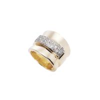 Anel Filete de Ródio Cravejado - Folheado a Ouro