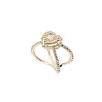 Anel de Coração e Aro com Bolinhas - Folheado a Ouro