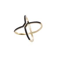 Anel Cruzado - Folheado a Ouro e Ródio Negro