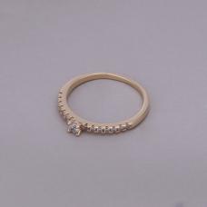 Anel Solitário 3 mm Cravejado - Folheado a Ouro