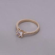Anel Solitário 5 mm Cravejado - Folheado a Ouro