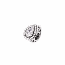 Berloque Gota Cravejado - Prata Envelhecida