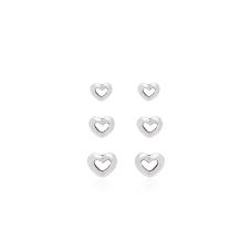 Brinco Trio Coração - Prata Branca