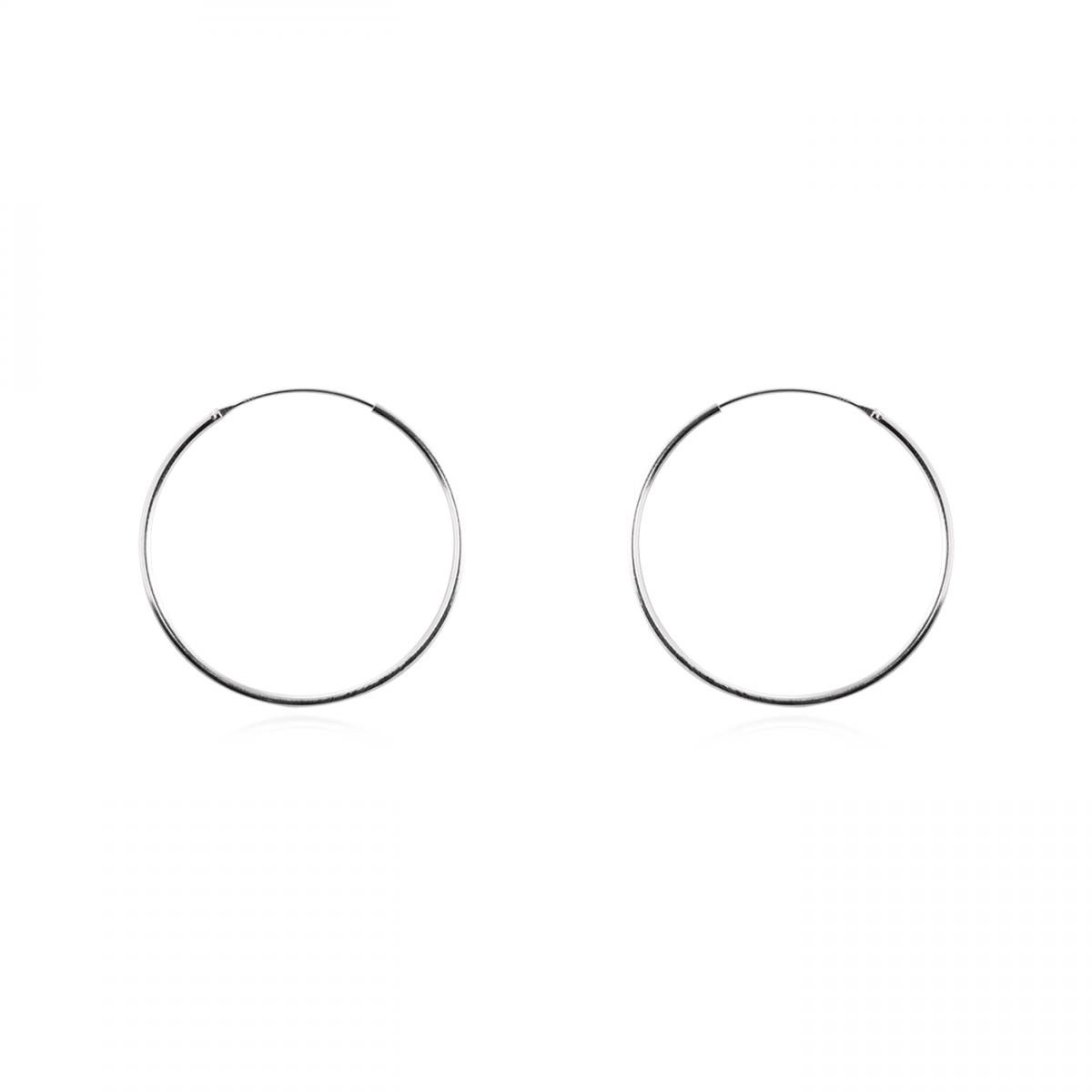 Brinco de Argola 3 cm - Prata Branca