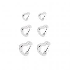 Brinco Trio de Argolas Corações - Prata Branca