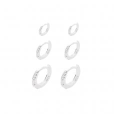 Brinco Trio de Argolas Cravejadas - Prata Branca