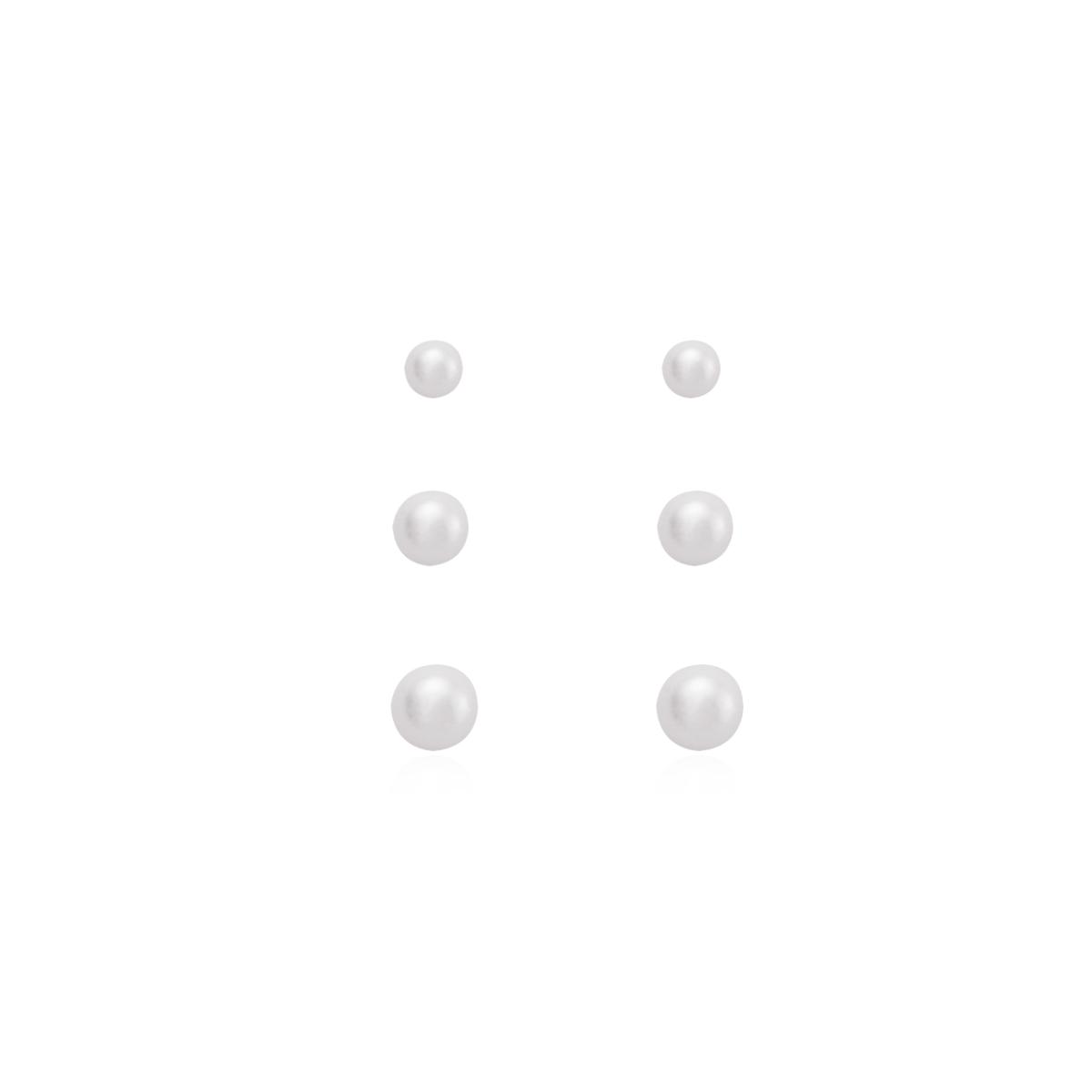 Brinco Trio de Pérolas - Prata Branca