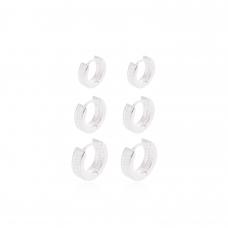 Brinco Trio de Argolas Cravejado - Prata Branca