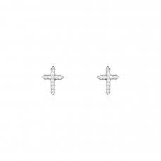 Brinco Cruz Cravejado - Ródio Branco