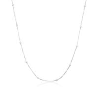 Corrente Veneziana com Bolinha 45 cm - Prata Branca