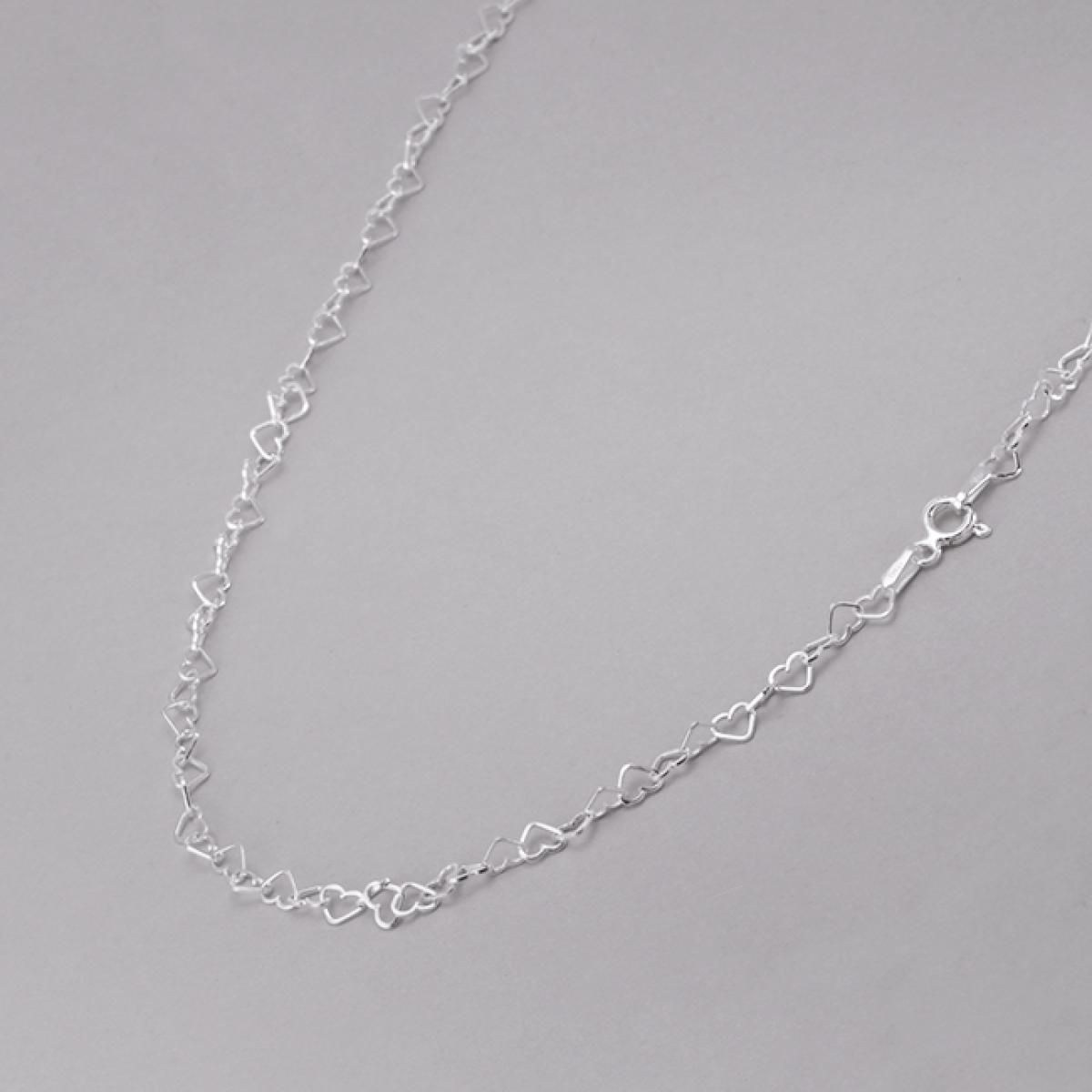 Corrente Coração Entrelaçado 40 cm - Prata Branca
