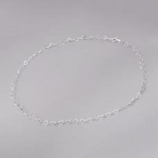 Corrente Coração Entrelaçado 38 cm - Prata Branca