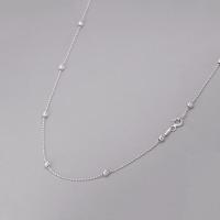 Corrente de Bolinhas 40cm - Prata Branca