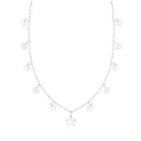 Gargantilha Estrelas e Bolinhas - Prata Branca