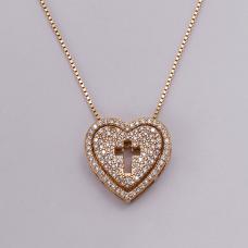 Gargantilha Coração com Cruz - Folheado a Ouro