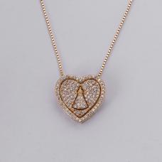 Gargantilha Coração Nossa Senhora Aparecida - Folheado a Ouro