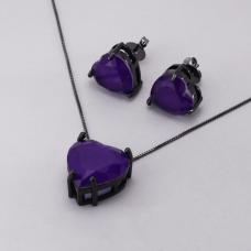 Conjunto Brinco e Gargantilha Coração Roxo - Ródio Negro