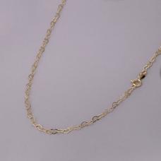 Corrente Coração Entrelaçado 45cm/ 3mm - Folheado a Ouro