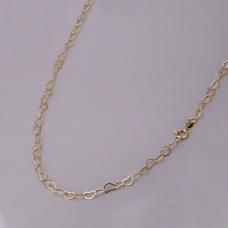 Corrente Coração Entrelaçado 70cm/ 4mm - Folheado a Ouro
