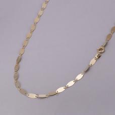 Corrente com Chapinhas Ovais 70cm - Folheado a Ouro