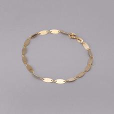 Pulseira com Chapinhas Ovais 19cm - Folheado a Ouro