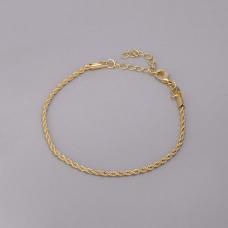 Pulseira Cordão Baiano 17cm/ 2mm - Folheado a Ouro