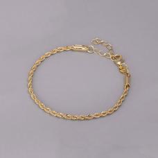 Pulseira Cordão Baiano 17cm/ 3mm - Folheado a Ouro