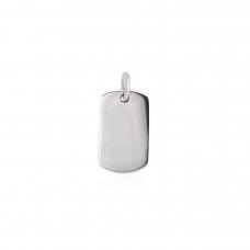 Pingente Placa de Identificação - Prata Branca