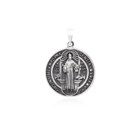 Pingente Medalha São Bento - Prata Envelhecida