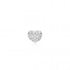 Pingente Coração Cravejado - Ródio Branco