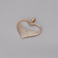 Pingente Coração Cravejado - Folheado a Ouro