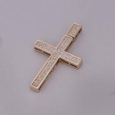 Pingente Cruz Cravejada - Folheado a Ouro
