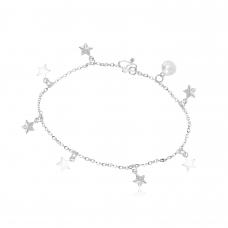 Tornozeleira Estrelas - Prata Branca