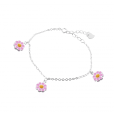 Pulseira Infantil de Flores - Prata Branca
