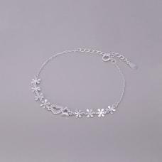 Pulseira Coração, Estrela e Flores - Prata Branca