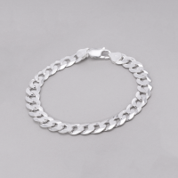 Pulseira Masculina Groumet 22cm/ 10.5 mm - Prata Branca