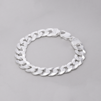 Pulseira Masculina Groumet 22cm/ 12mm - Prata Branca