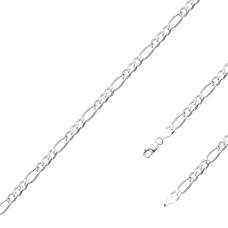 Corrente Fígaro 70cm/ 5.3mm - Prata Branca