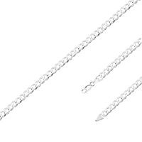 Pulseira Masculina Groumet 20cm/ 5mm - Prata Branca