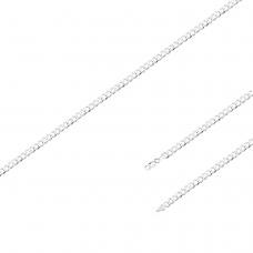 Corrente Groumet 70cm/ 3mm - Prata Branca