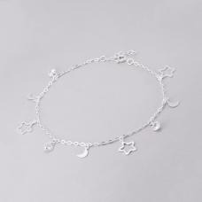 Tornozeleira Estrela, Lua e Coração - Prata Branca