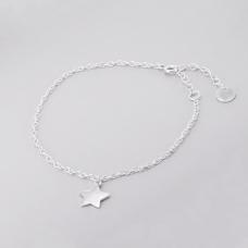 Tornozeleira Estrela - Prata Branca