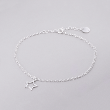 Tornozeleira Estrela Vazada - Prata Branca
