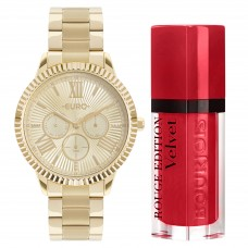 Kit Relógio Euro Dourado Feminino EU6P29AHO/K4D