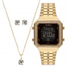Kit Relógio Euro Dourado Digital Feminino EUBJK032AB/K4P